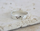 Hammered Silver Ring //  Sterling Silver Wedding Ring //  5mm Silver Wedding Band // gift for him // gift for her //