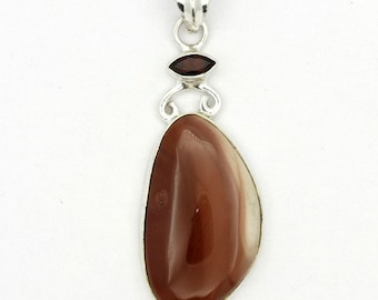 Excellent! New Brown Imperial Jasper,Garnet 925 Sterling Silver Pendant Jewelry A0500