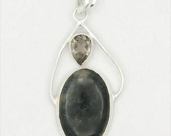 Dazzling! New Green Ocean Jasper,Smoky Topaz 925 Sterling Silver Pendant Jewelry A0888