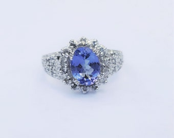 1.43 ct Tanzanite & Diamond 14kt White Gold Ring Size 7