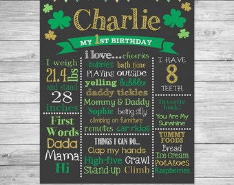 St. Patrick's Day First Birthday Chalkboard Poster of Favorite Things Printable- First Birthday Chalkboard Sign - Shamrock