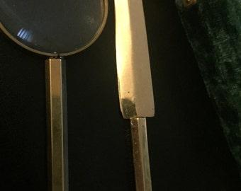 Mid century vintage brass letter opener and magnifying glass in green velvet box