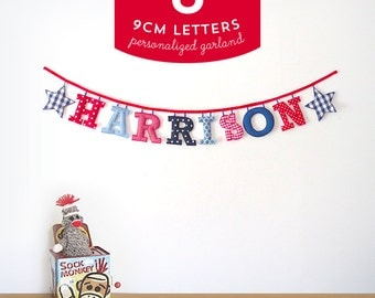 Customized Handmade Fabric Garlands - 8 Letter Name