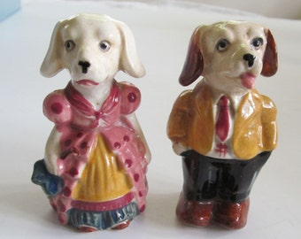 He and She  DOGS Going to a PARTY Vintage Salt & Pepper Shakers