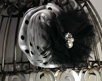 Black and white hair clip, black hair flower, black and white polka dot flower hair accessory, girls hair clips, flower hair clip, black