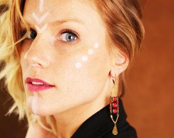 Boucles d'oreilles ethniques-bohème faites main laiton-perles verre-hématites-pierre semi précieuse-agates (BO1 WANDA)turquoise-rouge-noir