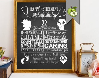 Retirement, Leaving Gift for a Midwife, Nurse, Medical staff, fully Personalised, chalkboard style, personalised, DIY Printable, Nurse gift.