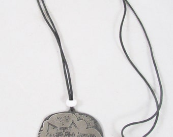 Nedobeck Cat Meow Pendant Necklace Hard to Find 1970s