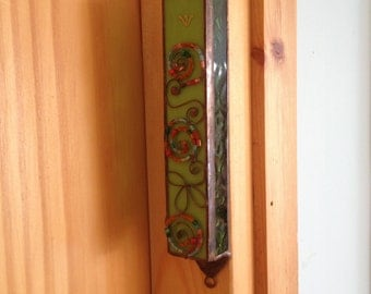 HANDMADE MEZUZAH CASE  Green Color with Flowers and Beads Filligree.Stained Glass,Wall Hanging,Ethnic Decor,Jewish Housewarming/Wedding Gift
