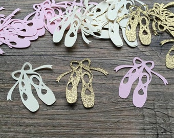 Ballet Slipper Confetti - Light Pink/Ivory/Gold - 2 inches - Ballerina Party - Birthdays - Showers - Table Confetti, Party Decor