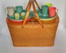 Vintage Picnic Basket, Red-Man Label Wicker Woven Basket, Redmon Wood & Wicker Picnic Hamper, with Picnic Dishes, Weaved Wicker Basket