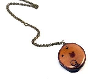 Kodama Pendant, Princess Mononoke Pendant, Kodama Jewelry, Wood Burned Pendant, Wooden Pendant, Wood Necklace, Studio Ghibli Jewelry