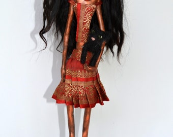 OOAK Art Doll, Sculpted Paper Clay Art Doll, Handmade Doll, Black Angora Mohair, One of A Kind Art Doll, MALIA