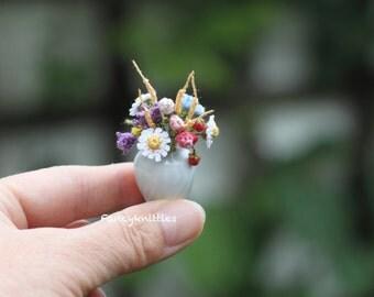 Wild flowers bouquet crochet dollhouse miniature bunch of field flowers in a white ceramic vase collectable fairy garden summer decor