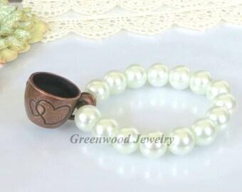 Coffee Lovers-Cup-Bracelets-Stretch Bracelet-Chunky Bracelet-Stackable Bracelets-Handcrafted Bracelet-White Bracelet-Antique Bronze Bracelet