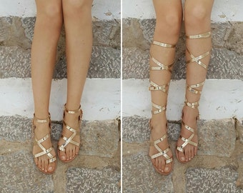 Hydra gladiator handmade Greek sandals, leather sandals, 2-in-1, low or high gladiators - various colours