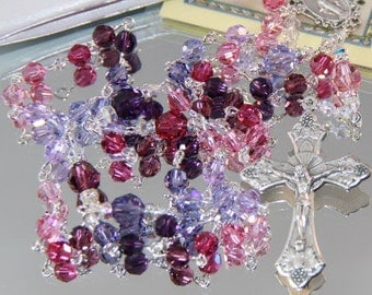 Catholic Swarovski Crystal Rosary in Pinks and Purples