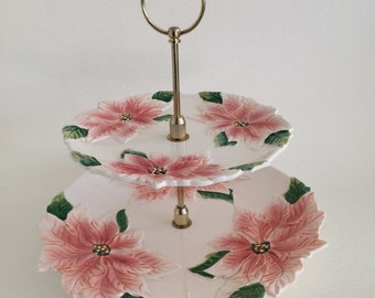 Pink Poinsettia Fitz and Floyd Tiered Stand/Server/ Dessert/Canape/1987 Fitz Floyd/Brass Handle/Pink Poinsettias/ Two Tier Server/Holiday