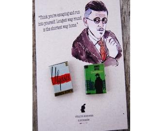 James Joyce's miniature book pins set