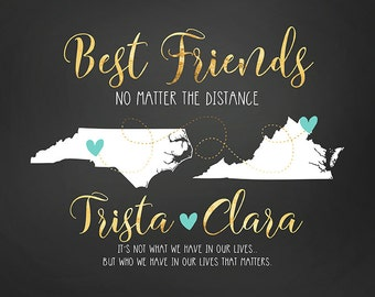 Best Friends Map, Long Distance or Hometowns, Bridesmaid, Personalized Map Art Birthday Gift for Best Friend, Sisters, Cousins | WF238