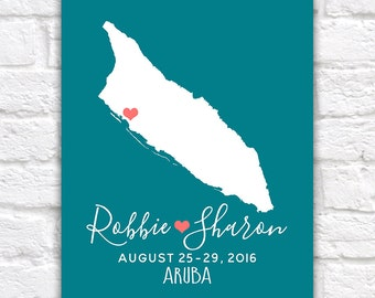 Aruba Honeymoon, Wedding, Destination Map -  Custom Map Gift, Engagement, Anniversary, Gift for Husband, Tropical, Island, Caribbean | WF277