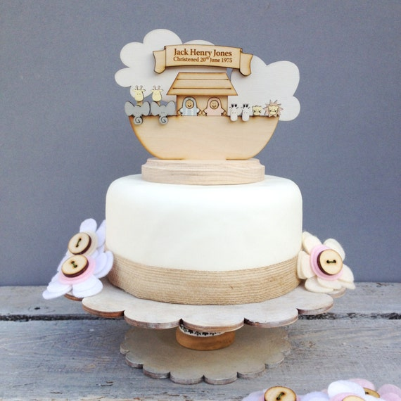 Noah's Ark Christening topper - shabby chic style personalised cake topper