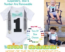1st Birthday Outfit - Boys First Birthday Outfit - Black Number One - Chevron Suspenders - Aqua Bow Tie  - Cake Smash - Birthday Shirt