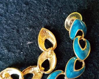 Vintage Teal Enamel Heart Earrings, Dangle & Drop Earrings, 1980's Enamel Earrings, Valentines Day Gift, Romantic Jewelry