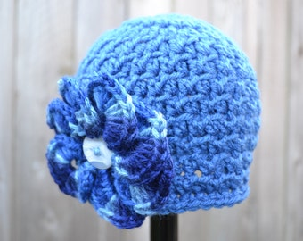 Crocheted Textured Beanie Girl Infant Blue with Multi-Blue Flower Ready to Ship