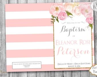 INSTANT DOWNLOAD - LDS Girl Baptism Program - Fully Editable - Printable Folded Baptism Program - Great to be 8 - Mormon Baptism Program