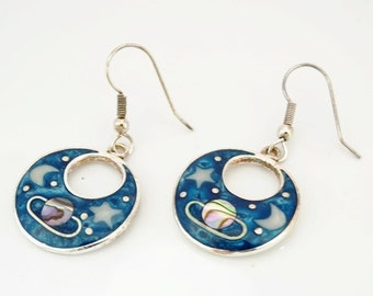 Modern Ladies Alpaca Mexico Silver, Abalone and Enamel Galaxy Drop Earrings FREE POSTAGE