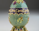 Turquoise, light blue Faberge Egg Decorated with grapes trinket box