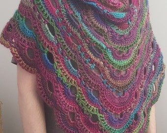 Crochet Shawl, Crochet Wrap, Knit Shawl, Knit Scarf, Knit Wrap, Rainbow Shawl, Triangle Shawl, Lacy Rainbow, Stained Glass, Handmade