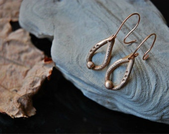 drop bronze earrings one of a kind