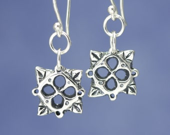 Sterling Silver Flower Earrings – Dangle Flower Earrings – Sterling Flower Earrings – Flower Jewelry Handcrafted Earrings – Artisan Jewelry