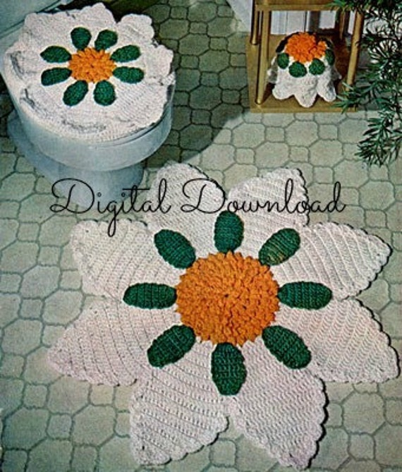 Sunflower Bathroom Rug Set Crochet Pattern Seat Cover