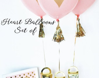 Bridal Shower Centerpiece, Bridal Balloons, Pink & Gold Balloons, Gold Heart Balloons, Baby Shower Balloons, Baby Girl Shower Decor