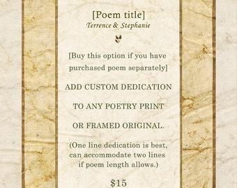 Custom Option: Dedication