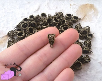 20 Slider Bail Beads Fit European Bracelet or Choker 14x8 mm - Antique bronze tone - SP78-181