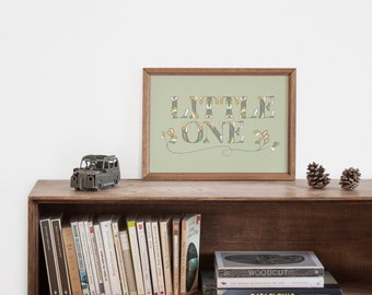 "Hand-lettering ""little one"" inspirational art print for the boy nursery"