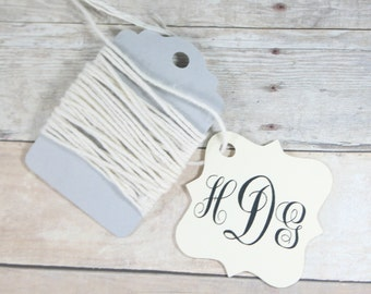 Monogrammed Cream Wedding Gift Tags set of 20 - Personalized Wedding Favor Tags - Ivory Custom Favors - Shower Tags - Cream Bridal Shower