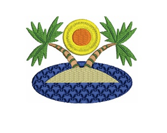 embroidery design  Island with palm trees Embroidery Design