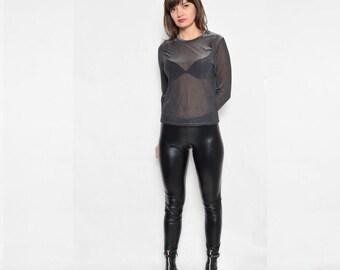 Vintage 90's Metallic Mesh Long Sleeve Blouse / See Thru Long Sleeve Top / Sheer Black Top / Sheer Long Sleeve Top - Size Medium