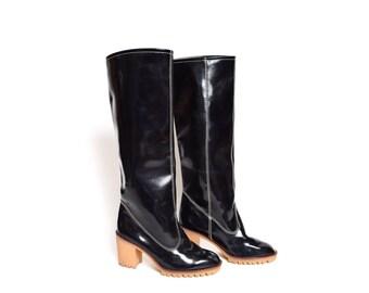 Vintage 90's Tall Rubber High Heel Rain Boots