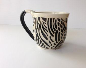 Black and White Sgraffito Mug - 12 ounces