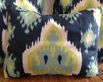 Navy Blue Pillow Cover 16 x 20 inch Pillow Cover Ikat Print Pillow Cover Blue Green Pillow Cover Blue White Pillow Lumbar Pillow Cover