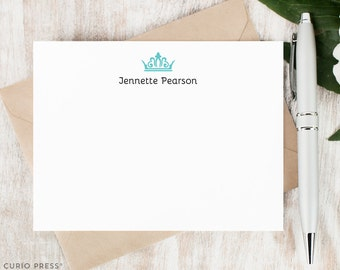 Personalized Stationery Set / Personalized Stationary Note Cards / Flat Notecards / Girl's Women's Princess Stationary // ROYAL TIARA