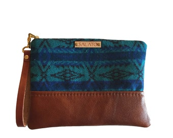 Wool and Leather Wristlet,Blue Navajo Print Wristlet, Leather wristlet, oregon wool
