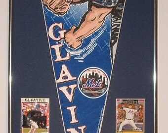 New York Mets Tom Glavine Pennant & Cards...Custom Framed!