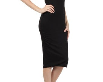 BLACK Strapless Midi Tube Dress